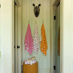 Add a Little Whimsy - Children's Bathroom Design Ideas - Southern Living Childrens Bathroom, Baby Bathroom, Small Bathroom, Bathrooms, Bathroom Ideas, Kid Friendly Bathroom Design, Creative Kids, Creative Design, Hanging Towels