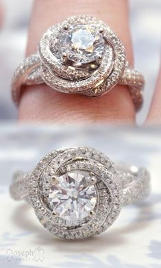 This glamorous twist of diamonds features more than 350 accent diamonds and a 1 carat center diamond. It can be customized both to fit your style and your budget. Halo diamond engagement rings are a beautiful style. TAP to learn more and customize your ow Custom Wedding Rings, Wedding Jewelry, Gold Wedding, Wedding Unique, Trendy Wedding, Wedding Ideas, Unique Rings, Beautiful Rings, Princess Cut Rings
