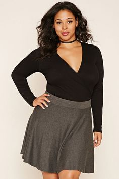Forever 21+ - A ribbed knit top featuring a surplice front with self-tie straps and long sleeves.