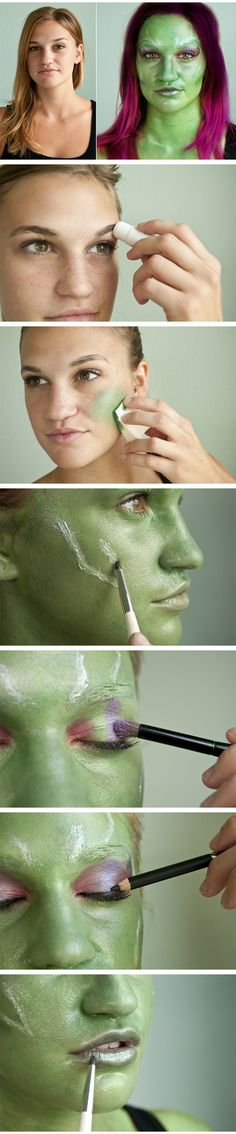 Stunning and simple transformation! Gamora of Gaurdians of the Galaxy makeup tutorial.
