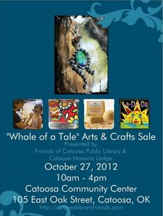 """""""Whale of a Tale"""" Arts & Crafts Sale fundraiser event October Fundraising Events, Fundraiser Event, Fundraisers, Masonic Lodge, Craft Sale, Whale, Arts And Crafts, Oklahoma, October"""