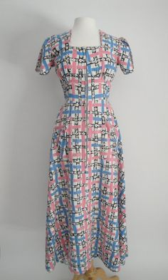 Vintage 1940s 40s Dress Cotton Novelty Print by littlestarsvintage, $108.00