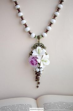 White lily necklace Purple rose jewelry Clay flower pendant