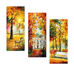 """3 Piece Wall Art - Wind Of Dreams (Set Of 3) — Panel Oil Painting On Canvas By Leonid Afremov. Wall Decor Set, Size: 16"""" X 40"""" Inches Each"""