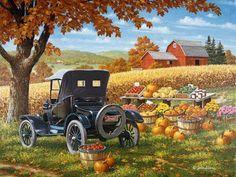 dibujos paisajes T Stop 500 Piece Jigsaw Puzzle Country Art, Country Life, Autumn Scenes, Farm Art, Country Scenes, Fall Pictures, Dream Pictures, Naive Art, Autumn Art
