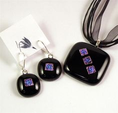 Dichroic Fused Glass Jewelry   Pendant and Earring Set by Greenhouse Glassworks $35.00