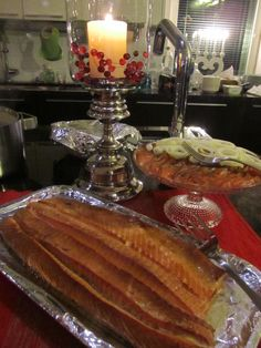 Smoked salmon and gravlax. Traditional Finnish Christmas dinner.