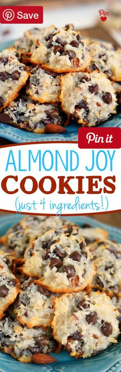 Almond Joy Cookies - Just 4 Ingredients - EASY Almond Joy Cookies take just four ingredients and dont even require a mixer! No beating no chilling just a quick stir and into the  Ingredients  Baking & Spices  2 cups Semi-sweet chocolate chips  Nuts & Seeds  2/3 cup Almonds lightly salted  1 14 oz bag Coconut flakes sweetened  Other  1 14 oz can Sweetened condensed milk #delicious #diy #Easy #food #love #recipe #recipes #tutorial #yummy @mabarto - Make sure to follow cause we post alot of…