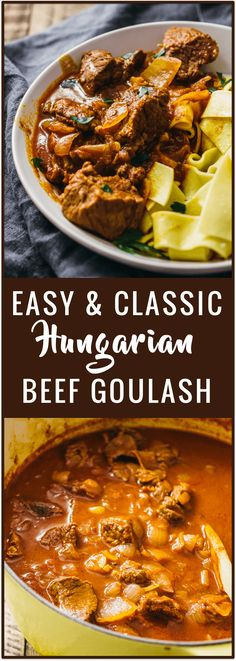 Hungarian beef goulash is a spicy beef stew with onions and plenty of paprika. Here's an easy recipe for this classic dish where everything cooks in a single pot. via @savory_tooth