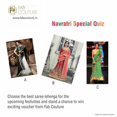Here is next question of the Navratri quiz brought to you by Fab Couture team. So stay tuned, keep answering and sharing. Don't miss a chance to win the exciting prize from Fab Couture! Have a look on these stunning saree designs and let us know your choice. Most preferred design would be the winner. Good Luck! #FabCouture #LuckyDraw #Contest #DesignerDresses #Fabric #Fashion #DesignerWear #ModernWomen #Embroidered #WeddingFashion #WesternLook #affordablefashion…