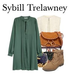 """""""Sybill Trelawney"""" by megan-vanwinkle ❤ liked on Polyvore featuring Rebecca Taylor, See by Chloé, EyeBuyDirect.com, Forever 21, Steve Madden, Ottoman Hands, harrypotter and polyvoreeditorial"""