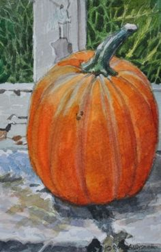 """2013 Pumpkin #2"" - by Andy Smith,  ~ Watercolor"