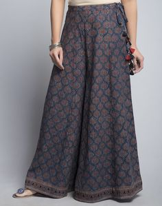 CottonAjrakTasselDrawstring WaistHand Wash Separately in Cold Water palazzo zara Fashion Pants, Hijab Fashion, Fashion Dresses, 80s Fashion, Style Fashion, Fashion Women, Fashion Tips, Kurta Designs, Blouse Designs