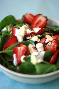 Sweet and tangy poppy seed dressing works with any salad but is especially good with summer ripe strawberries and nutrient-packed spinach.  Ideal for an outdoor summer or late spring brunch.