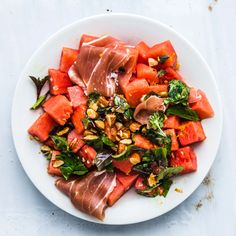 Watermelon and Prosciutto with Mint and Toasted Almonds Recipe | Bon Appétit