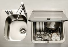 The KitchenAid® Briva® FlashDry© in-sink dishwasher that completes an entire cycle in just 18 minutes.