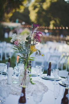 wildflower centerpiece ideas #wedding #outdoorwedding #boho