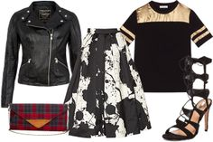 Sandro Eclipse Black And Gold T-Shirt, $250, available at Sandro; New Look Black Biker Jacket, $81.89, available at New Look; Sole Society Plaid Clutch, $29.95, available at Sole Society; Tibi Printed SIlk-Gazar Skirt, $650, available at Net-A-Porter; Schutz Erlene Heel, $220, available at Revolve Clothing.