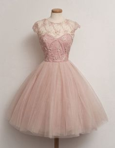 dusty pink vintage tea length prom dress