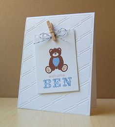 Teddy Bear Welcome Card by Cristina Kowalczyk for Papertrey Ink (May 2013)