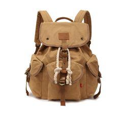 Casual Women Daily School Bags Vintage Canvas Rucksack Travel Men Bag Retro Drawstring School Bag College Multifunction Daypack - TMACHE