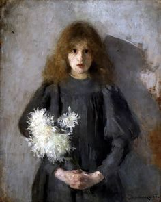 GIRL WITH CHRYSANTHEMUMS by Olga Boznańska (painted in 1894)   Impressionism   Oil on canvas   88.5 × 69 cm (34.8 × 27.2 in)   National Museum, Kraków, Poland