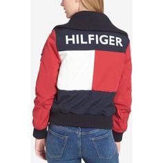 Tommy Hilfiger Colorblocked Logo Bomber Jacket (46.680 HUF) ❤ liked on Polyvore featuring outerwear, jackets, salsa, tommy hilfiger, flight jacket, blouson jacket, bomber jackets and style bomber jacket
