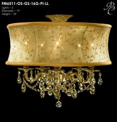 "ABC FM6511-OS-GS-16G-PI-LL Llydia Collection Flush Mounts Lites: 5 Diameter: 19"" Body Length: 18"" Finish: 16G ~ True Brass Crystal Package: Swarovski ELEMENTS Oval in Golden Shadow"