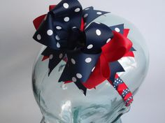 Ole Miss Navy Blue and Red Hair Bow and by ransomletterhandmade