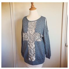 Grey Knit & Cream Lace Sweater Gorgeous piece. The Lace Cross bit is sheer so you may want to wear a bandeau or later with a contrasting shirt underneath. And yes, it's a cold shoulder style :) brand new without tags. Oversized and slouchy, it may also fit a Medium. Forever 21 Sweaters Crew & Scoop Necks