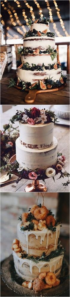 semi naked wedding cake with fig decor for fall weddings_