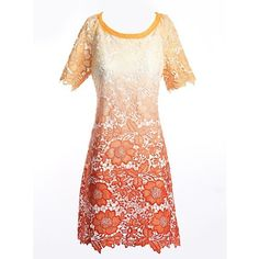 Orange Gradient Floral Cutwork Short Sleeve Shift Dress (72 AUD) found on Polyvore