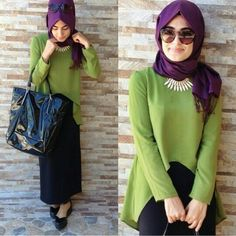 ♥ Muslimah fashion & hijab style Muslim Fashion, Street Hijab Fashion, Islamic Fashion, Modest Fashion, Casual Hijab Outfit, Casual Wear, Hijabs, Hijab Trends, Modest Dresses