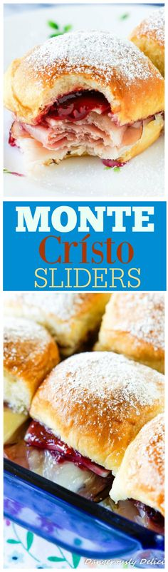Monte Crísto Sliders will take you back to that happy place or, if you've never tried one, create a new happy memory in your very own home. Perfect for Spring, serve these sliders for Easter brunch or as part of a Mother's Day Breakfast. Brunch Recipes, Appetizer Recipes, Breakfast Recipes, Brunch Ideas, Brunch Appetizers, Brunch Drinks, Dinner Ideas, Monte Cristo Sandwich, Slider Sandwiches