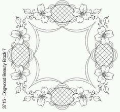 Dogwood Beauty Block 7 by One Song Needle Arts Flower Coloring pages colouring adult detailed advanced printable Kleuren voor volwassenen coloriage pour adulte anti-stress kleurplaat voor volwassenen Painting Patterns, Craft Patterns, Quilt Patterns, Embroidery Stitches, Embroidery Patterns, Hand Embroidery, Colouring Pages, Coloring Books, Parchment Design