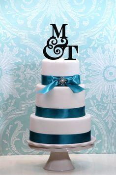Monogram Wedding Cake Topper Personalied with YOUR INITIALS A B C D E F G H I J K L M N O P Q R S T U V W X Y Z