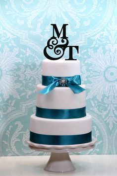 Monogram Wedding Cake Topper Personalied with YOUR INITIALS A B C D E F G H I J K L M N O P Q R S T U V W X Y Z