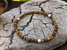Amber Brown Shell Beads Stretch Bracelet  Luster by MiaCocoDesigns, $12.00