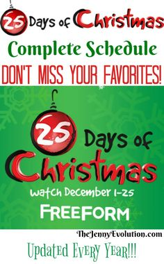 25 Days of Christmas Movies (on Freeform TV - formerly ABC Family) - Plus a FREE Printable Christmas Movies Schedule Highlights for handy reference :) Christmas Crafts For Kids To Make, 25 Days Of Christmas, Christmas Activities For Kids, Christmas Shows, Free Christmas Printables, Christmas Movies, Christmas Projects, Free Printables, Christmas Ideas
