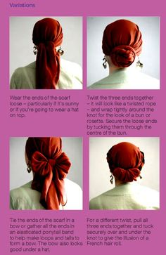 Another headscarf variation to create a lovely bow                                                                                                                                                      More