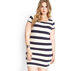 Forever 21 Plus Women's  Plus Size Striped Bodycon Dress (59 BRL) ❤ liked on Polyvore featuring plus size women's fashion, plus size clothing, plus size dresses, women's plus size dresses, forever 21 dresses, striped bodycon dress and body con dresses