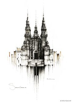 ◾Original drawing on watercolour paper ◾ black ink, water, coffee ◾35x50cm ◾Created 01/2021 ◾© 2020 PAVEL FILGAS ART ◾ #SantiagoDeCompostela #Spain #Espana #CaminoDeSantiago #Camino #Cathedral #coffeeart #drawing #sketching #inkdrawing #pavelfilgasart #painting #architecture #architecturedrawing #archsketch #painting #niceart #originaldrawing #archsketch #inspiration #citydrawing #handmade #design #homedecor #style #interiordesign Gothic Elements, Ink Water, City Drawing, Web Gallery, Architectural Sketches, Less Is More, Coffee Art, Handmade Design, Drawing Reference