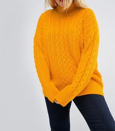 b1b15446f8 ASOS CURVE Sweater with Cable Stitch   High Neck Asos Curve