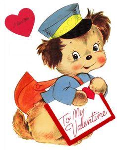Vintage Valentine Puppy