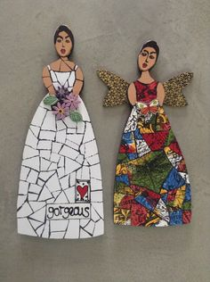mosaic dolls, ceramic tiles and inserts