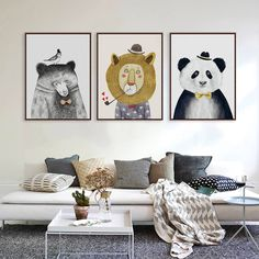 Nordic Kawaii Animals Lion Bear Panda A4 A3 Art Prints Poster Nursery Wall Picture Canvas Painting Kids Room Home Decor No Frame