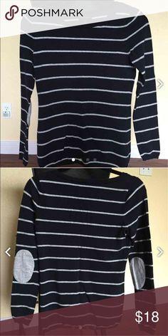 Banana Republic Navy Striped Sweater Banana Republic Navy Striped Sweater with Gray Elbow Patches; pre-owned; also on Mercari. Banana Republic Sweaters Crew & Scoop Necks