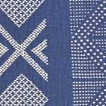 "Pattern: Tangier Style No: M-6403 Color: Brilliant Blue/Natural Content: 100% Linen Width: 54"" Repeat: 32.5"" Vertical 54"" Horizontal"