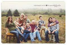 big family picture ideas | big family photo | Photo ideas--fun to use some great chairs out in the field
