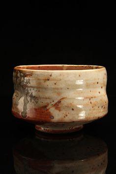 Tony Ferguson -Multiple layered Shinos, Wood Ash on Iron stoneware tea bowl chawan matcha
